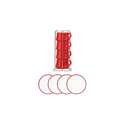 Dansk Tea&saucer 티컵세트 4인조(레드)